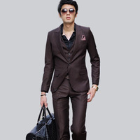 Free Shipping  spring 2014  high quality new arrival  collar buckle peaked collar tanget line slim suits  men clothing  pattern