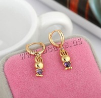 Free shipping!!!Brass Lever Back Earring,2013 new fashion girl, Rabbit, 18K gold plated, with cubic zirconia, nickel