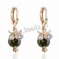 Free shipping!!!Brass Lever Back Earring,Christmas Gift, Owl, 18K gold plated, with cubic zirconia, nickel, lead & cadmium free