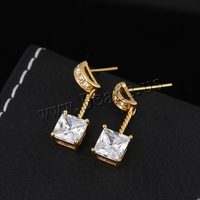 Free shipping!!!Brass Drop Earring,2013 womens european fashion, 18K gold plated, with cubic zirconia, nickel