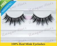 Free Shipping 3pcs/lot k015 natural long siberian thick mink Strip eyelash/ False Individual Eyelashes Extensions