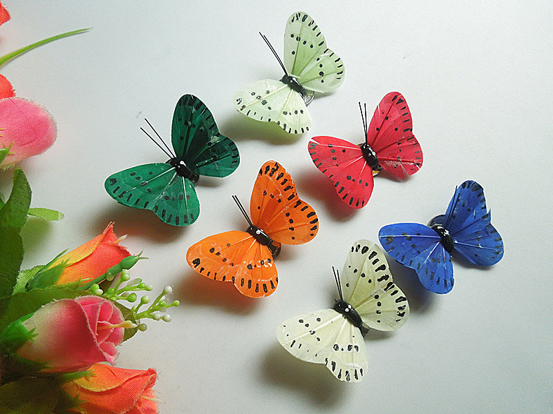 Free shipping 50pcs real feather butterfly magnet room decorative decal size is 6 cm(China (Mainland))