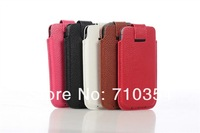 "Free Shipping 5X Genuine leather case pull tab pouch phone bag cover For iPhone 5g, 5s, 5c, universal pouch for 4"" phone"