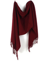 Autumn and winter female thermal scarf solid color large cape ultra long thick Wine red