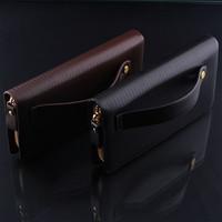 Social Handbag High Quality Men's Wallets Passport Covers PU Leather Wallet Clutch Purse Men Zipper Bag Men Leather Handbag