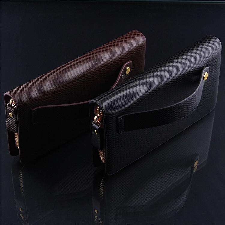 Social Handbag High Quality Men's Wallets Passport Covers PU Leather Wallet Clutch Purse Men Zipper Bag Men Leather Handbag(China (Mainland))