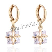 Free shipping!!!Brass Lever Back Earring,Clearance, 18K gold plated, with cubic zirconia, nickel, lead & cadmium free, 10mm