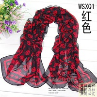 2013 spring and autumn long scarf lengthen thickening women's beach cape skull chiffon silk scarf