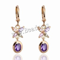 Free shipping!!!Brass Lever Back Earring,Fashion, Butterfly, 18K gold plated, with cubic zirconia, nickel, lead & cadmium free