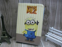 Hot New 2013 wholesale tablet pc accessories cute Despicable Me kids Leather Case for  Galaxy Tab 2 3 , case for Ipad mini 2 3 4