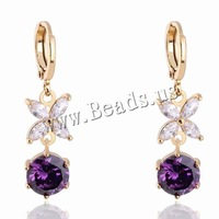 Free shipping!!!Brass Lever Back Earring,Famous, Flower, 18K gold plated, with cubic zirconia, nickel, lead & cadmium free, 7mm