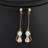 Free shipping!!!Brass Drop Earring,Top Selling,  18K gold plated, with cubic zirconia, nickel, lead & cadmium free, 45mm