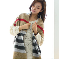 Autumn and winter cashmere yarn muffler scarf cape dual lengthen plaid scarf