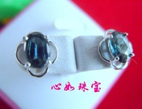 Natural sapphire 925 silver platinum fashion stud earring earrings gift