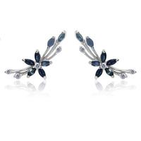 Derongems_Fine Jewelry_Natural Sapphire Elegant Flower Stud Earrings_S925 Solid Sterling Silver Earrings_Factory Directly Sales