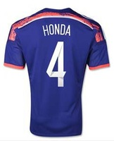 2014 Brazil World Cup top thai Japan home #4 HONDA blue soccer jerseys A+++ japan top Thailand quality football Clothes