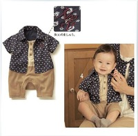 5pcs Children boy's SENSHUKAI handsome style print romper turn-down collar romper