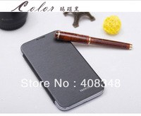 100pcs/lot For Samsung Galaxy Note 2 Note2 II N7100 S View Open Two Window Flip Leather Back Cover Cases Battery Housing Case
