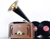 Small graphophone old fashioned antique radio-gramophone semi-flared vinyl machine lp player radio