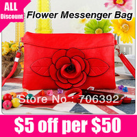 Free Shipping Designer Flower Zipper Bags For Women Fashion PU Leather Handbags Women Messenger Bags Clutch Bag Cross Body