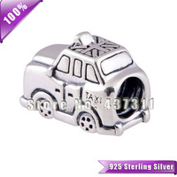 100% Authentic 925 Sterling Silver taxi design thread Charm Beads Fit European Style Jewelry Bracelets & Necklaces Pendant LW316