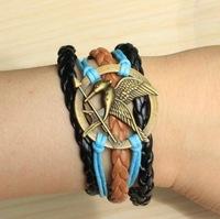 Fashion accessories bird line multi-layer bracelet hunger games bronze vintage fashion cool bird