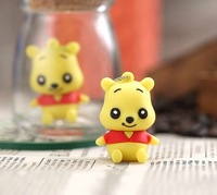 Free shippingNew Cartoon Cute Mini Yellow Bear usb 2.0 flash memory stick pen drive 4-32gb