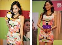 2014 New  Women Print Dresses Top Fashion O-Neck Sleeveless Waist  Pencil Bodycon Casual Dress,Plus size Free Shipping !