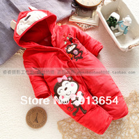 new 2013 autumn winter rompers baby clothing newborn baby boy cotton romper baby girl cartoon warm bodysuit baby wear