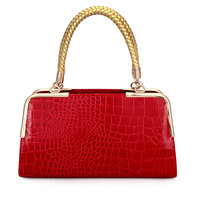 Women's handbag crocodile pattern glossy shaping the trend of small bag knitted bags personalized women's handbag bags