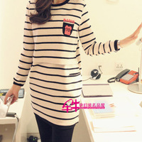 Maternity clothing maternity nursing long-sleeve dress stripe nursing dress nursing long-sleeve t-shirt 100% cotton stripe dress
