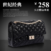 2012 female genuine leather female black sheepskin dimond plaid messenger bag bags