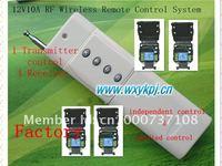 Long Distance 3000m 12V 1 CH Radio Controller RF Wireless Remote Control Switch RF Wireless Switch system 4 receiver&Transmitter