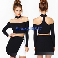 Brand New 2014 Halter neck long-sleeved shirt Slim Black Sexy Tops Women Blouse Free shipping