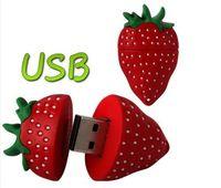Free shipping  Cartoon New Strawberry model usb 2.0 memory flash stick pen thumbdrive/disk