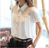 2014 Good Quality Korean Style Women Blouse Flowers Lace Chiffon Tops Shirt  Summer Fall Ladies OL Wear  white and black