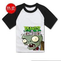 Plants vs zombies T-shirt fashion family children plants vs zombies short sleeve T-shirt summer t-shirt  cotton