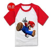 Super Mary T-shirt child super mario bros t-shirt 100% cotton family fashion clothing