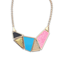 Min Order $10(mix order)Free Shipping!Korean Fashion Multicolor Geometric Irregular Oil Drop Necklace For Women  A302