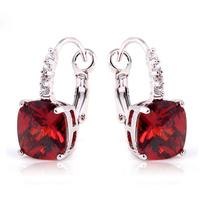Whole Dazzling Elegant Red Garnet  Dangle Hook  Silver Earring Fashion Stone Jewelry For Women Free Shipping