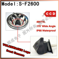 China Post Air Mail Free Shipping 100% IP68 Waterproof 170 Degree 480 TVL HD Colour Volkswagen Logo Front Camera