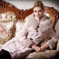 Fashion winter female plus size elegant slim medium-long berber fleece thermal down coat outerwear+FREE SHIPPING