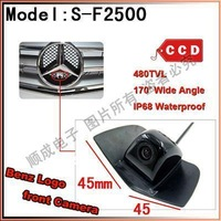 China Post Air Mail Free Shipping 100% IP68 Waterproof 170 Degree 480 TVL HD Colour Mercedes Benz Logo Front Camera