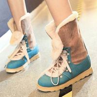 2013 winter fashion british style female cotton-padded  snow boots flat heel platform shoes plus size