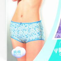 free shipping Panties female 100% cotton in the waist high women's trunk 100% cotton print boyleg