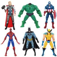 6 PCS SET Marvel&DC The Avengers Hulk+Captain+Wolverine+Batman+Spiderman Figure