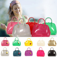 Vogue Candy Color Big Street Shell Bags Woman Outdoor Handbags Good Quality PVC Bags Fashion Sport Bag 14 Colors PT1206