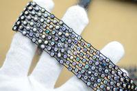 Free shipment 5row+6row AB rhinestone trims banding black setting x1 yard