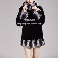 BG29273 New Winter Warm Natural Full Pelt Rex Rabbit Fur  Coat Wholesale Retail Women Winter Rex Rabbit  Fur Coat