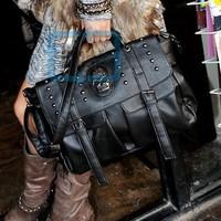 Women Faux Leather Skull Purse Shoulder  Messenger Bag Handbag Tote Satchel Black